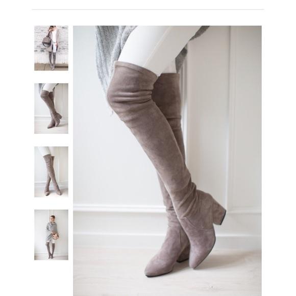 6077ebafb2f Goodnight Macaroon Carina taupe over the knee boot
